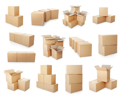 set of piles of cardboard boxes on a white background