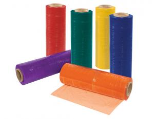 rolls of colored stretch film